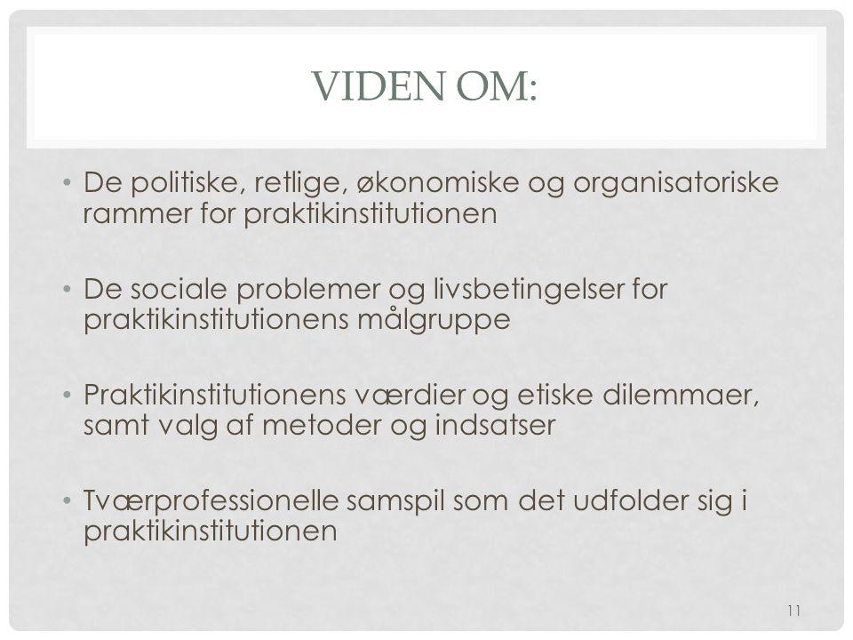 Viden om: De politiske, retlige, økonomiske og organisatoriske rammer for praktikinstitutionen.