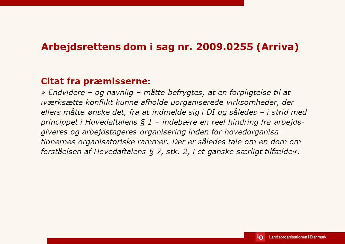 Arbejdsrettens dom i sag nr. 2009.0255 (Arriva)