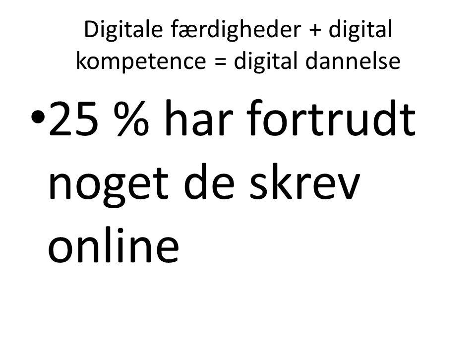 Digitale færdigheder + digital kompetence = digital dannelse