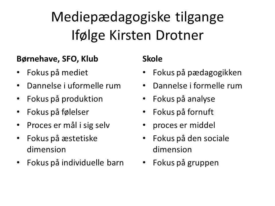 Mediepædagogiske tilgange Ifølge Kirsten Drotner