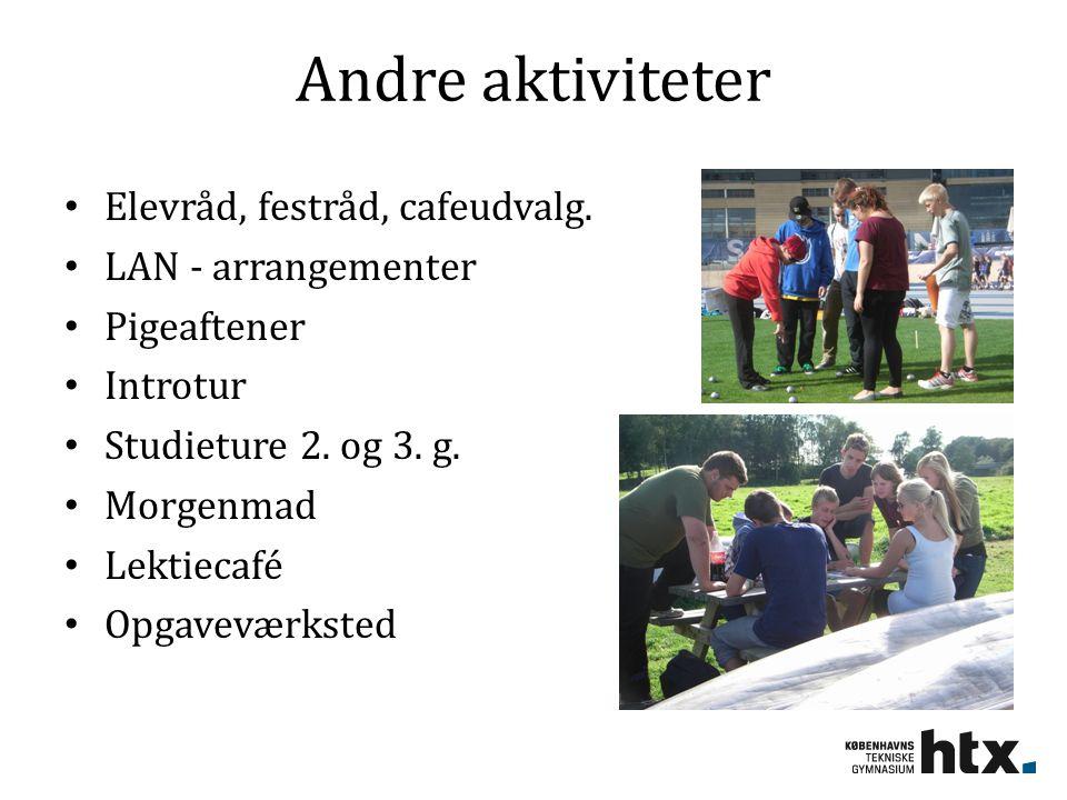 Andre aktiviteter Elevråd, festråd, cafeudvalg. LAN - arrangementer