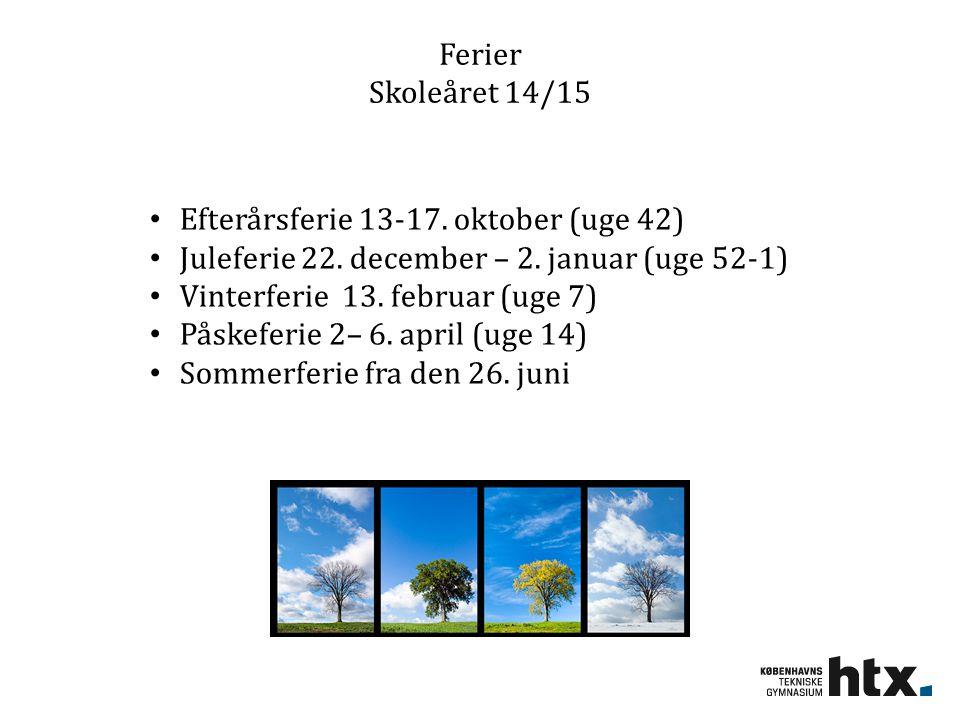 Ferier Skoleåret 14/15 Efterårsferie 13-17. oktober (uge 42) Juleferie 22. december – 2. januar (uge 52-1)