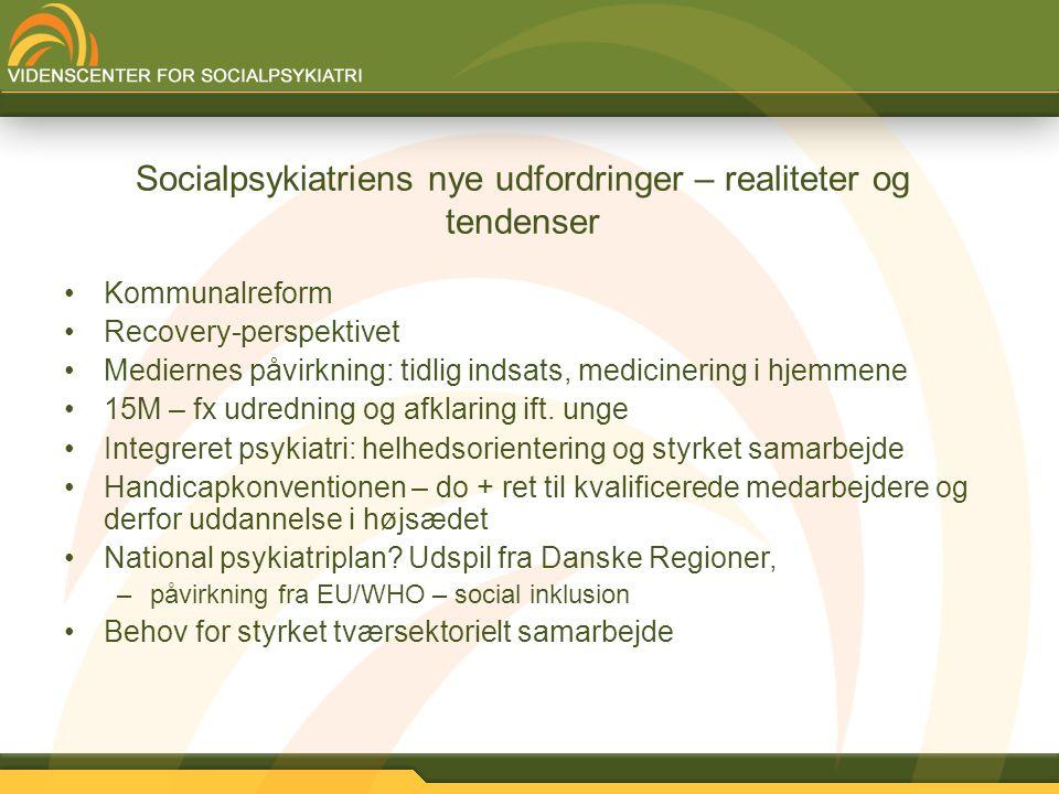 Socialpsykiatriens nye udfordringer – realiteter og tendenser