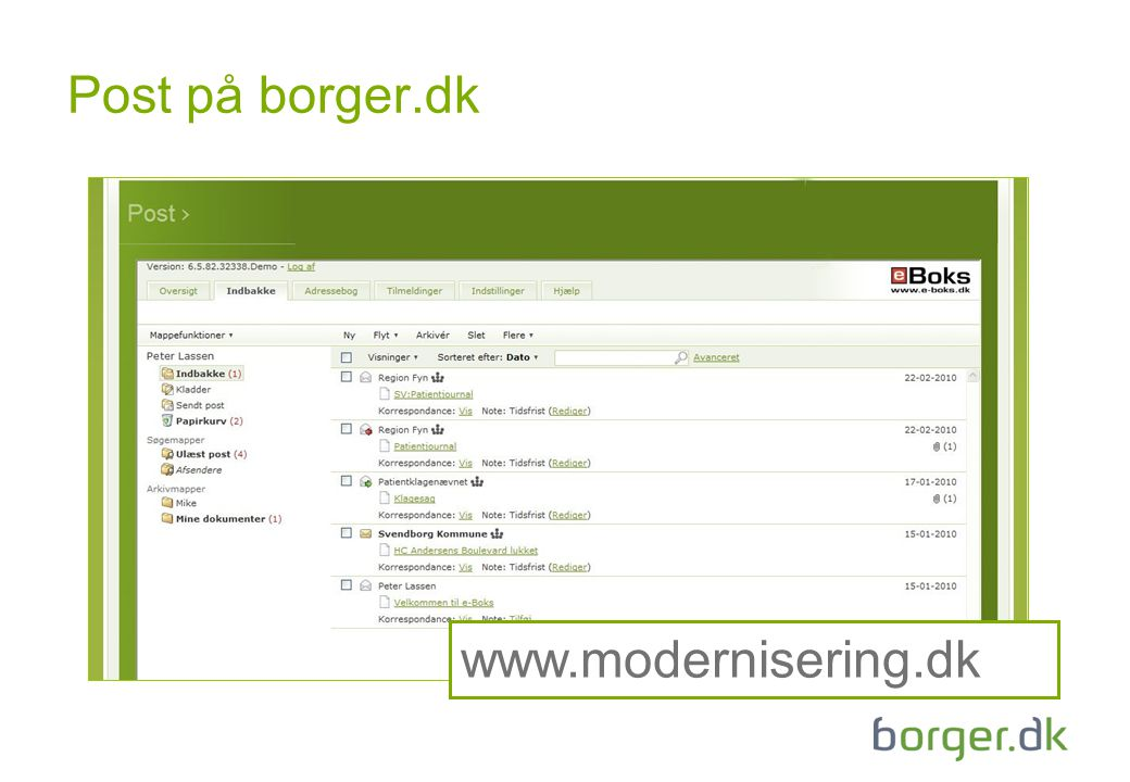 Post på borger.dk www.modernisering.dk