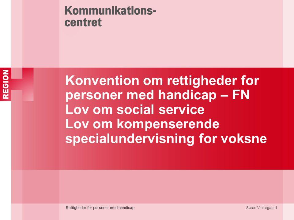 Konvention om rettigheder for personer med handicap – FN Lov om social service Lov om kompenserende specialundervisning for voksne