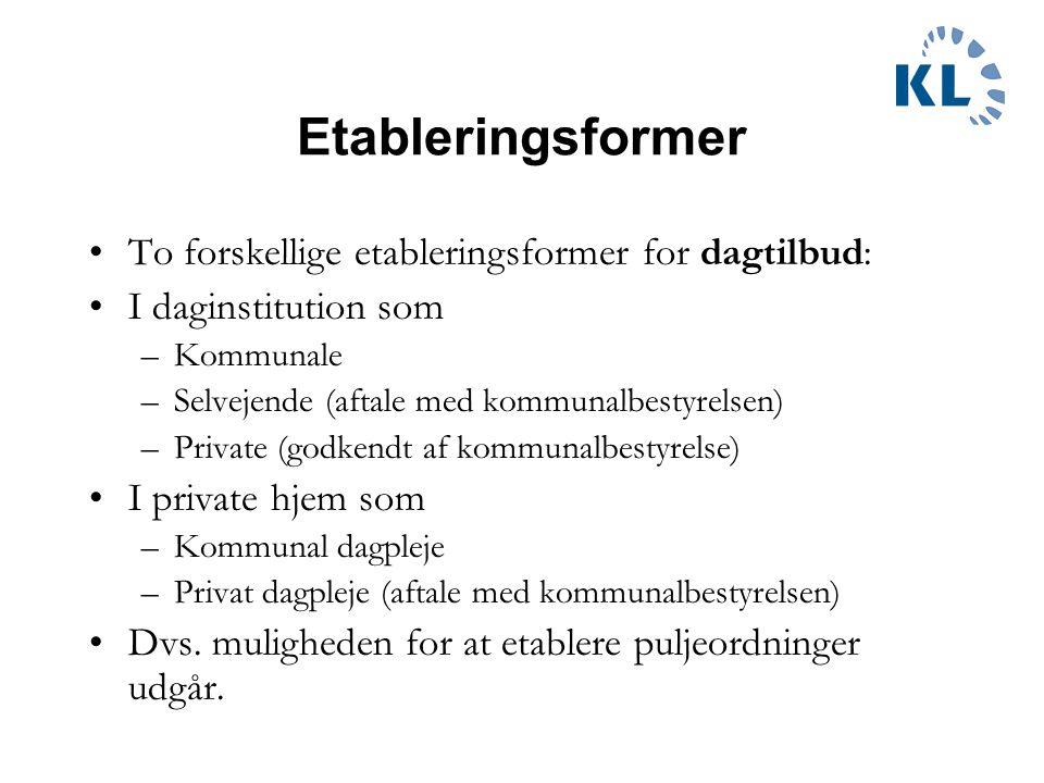 Etableringsformer To forskellige etableringsformer for dagtilbud: