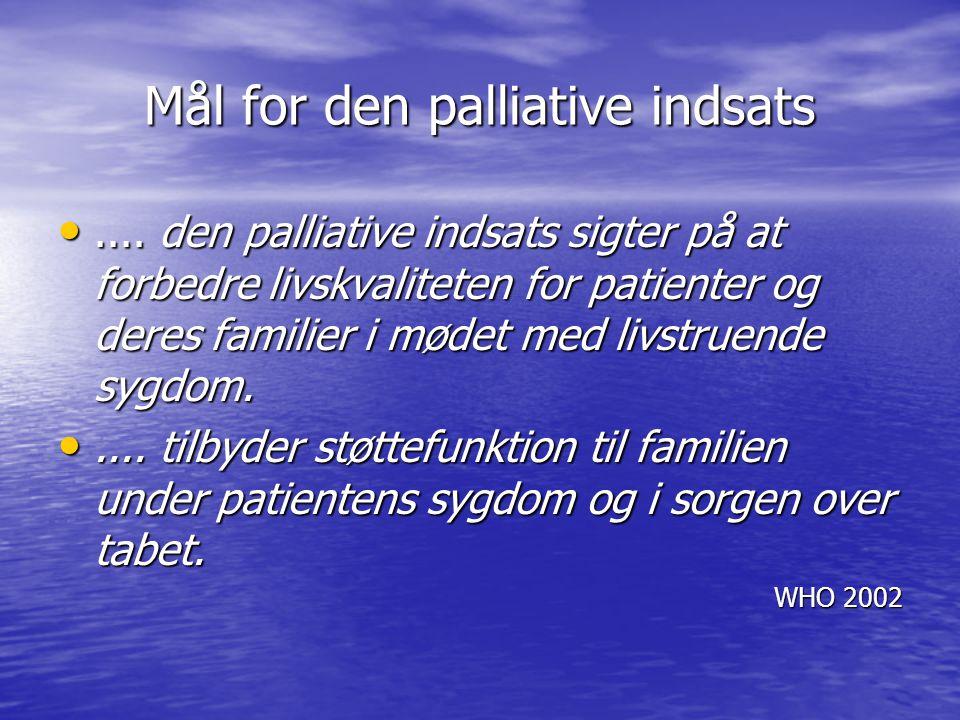 Mål for den palliative indsats