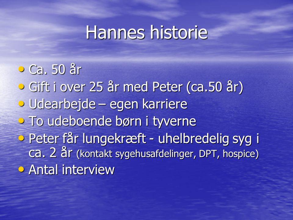 Hannes historie Ca. 50 år Gift i over 25 år med Peter (ca.50 år)