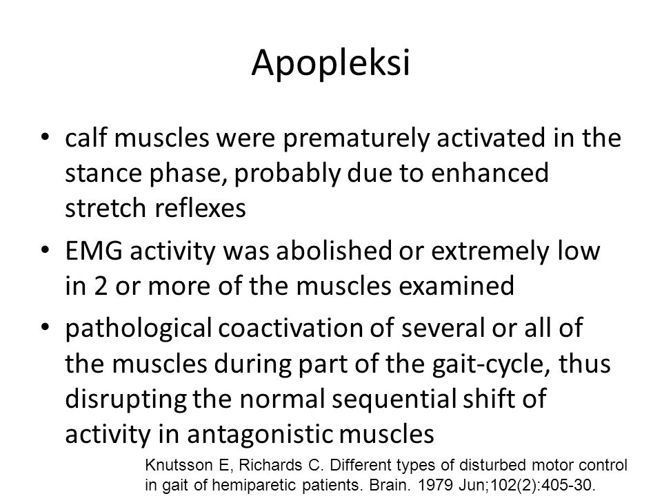 Apopleksi calf muscles were prematurely activated in the stance phase, probably due to enhanced stretch reflexes.