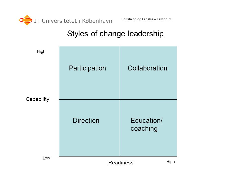 Styles of change leadership