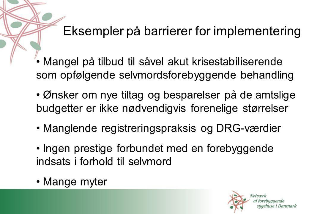 Eksempler på barrierer for implementering