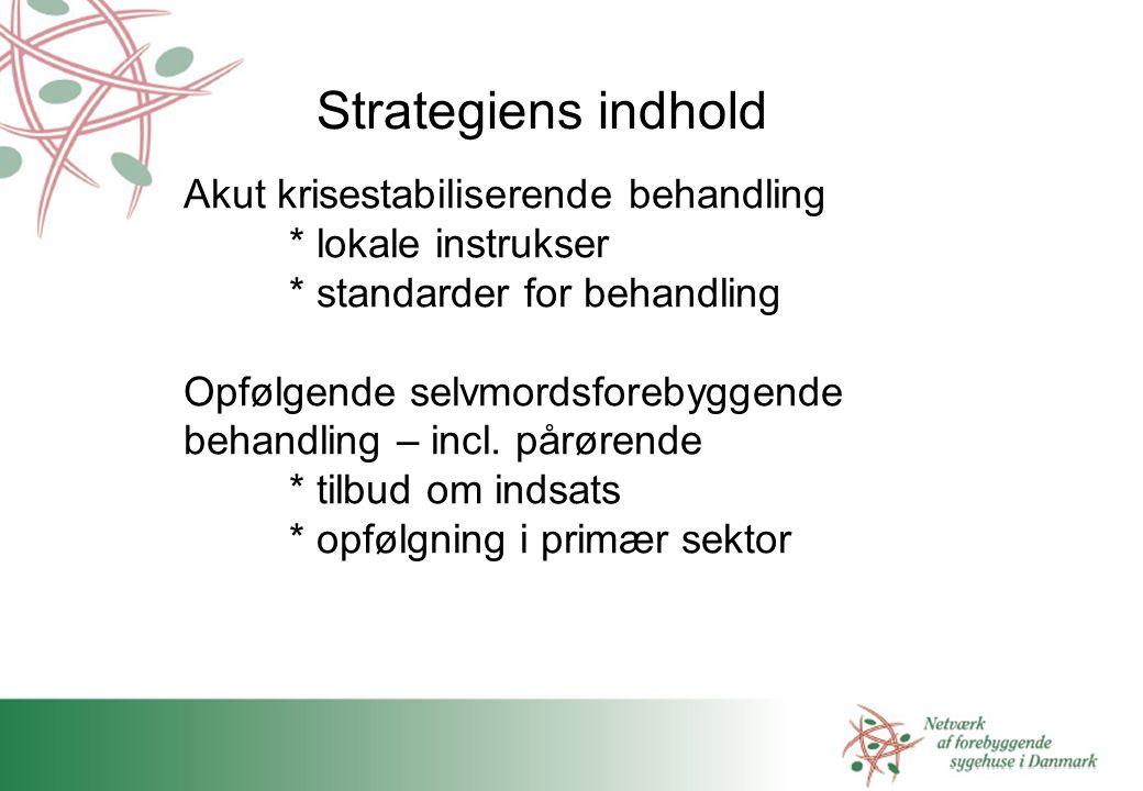 Strategiens indhold Akut krisestabiliserende behandling