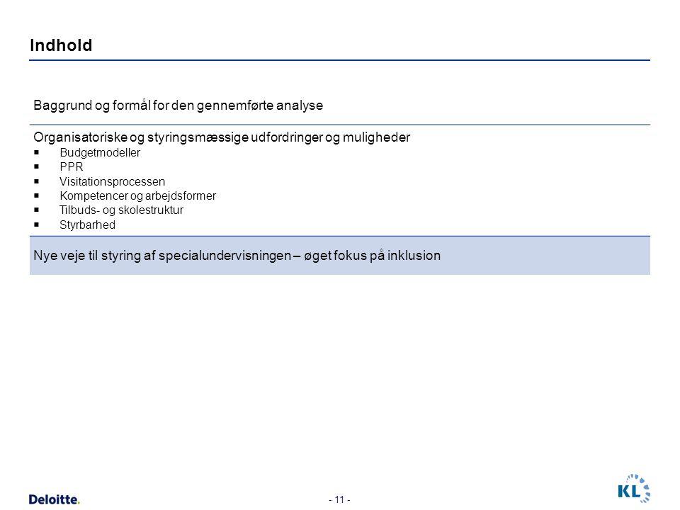 Indhold Baggrund og formål for den gennemførte analyse