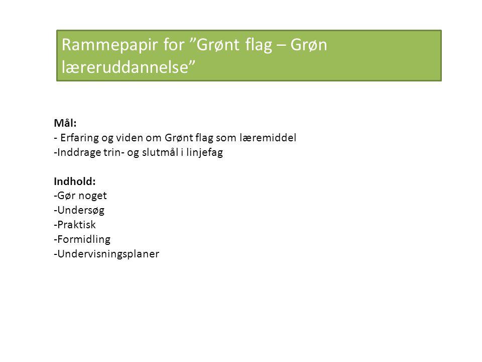 Rammepapir for Grønt flag – Grøn læreruddannelse