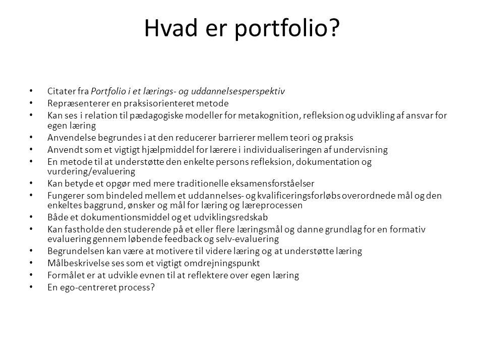 Hvad er portfolio Citater fra Portfolio i et lærings- og uddannelsesperspektiv. Repræsenterer en praksisorienteret metode.