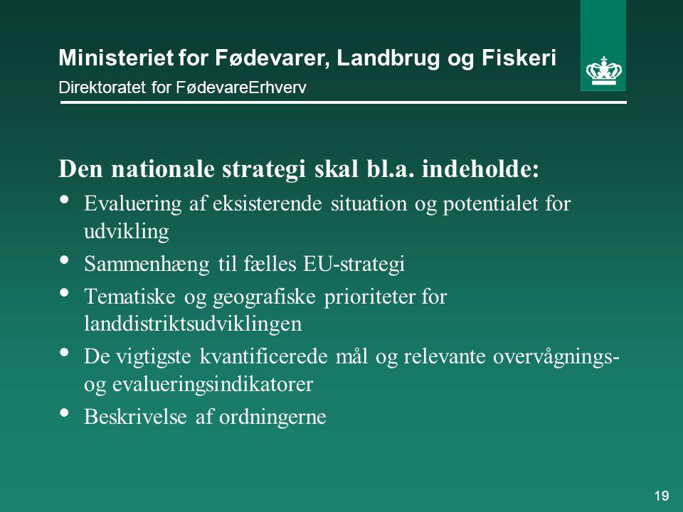 Den nationale strategi skal bl.a. indeholde: