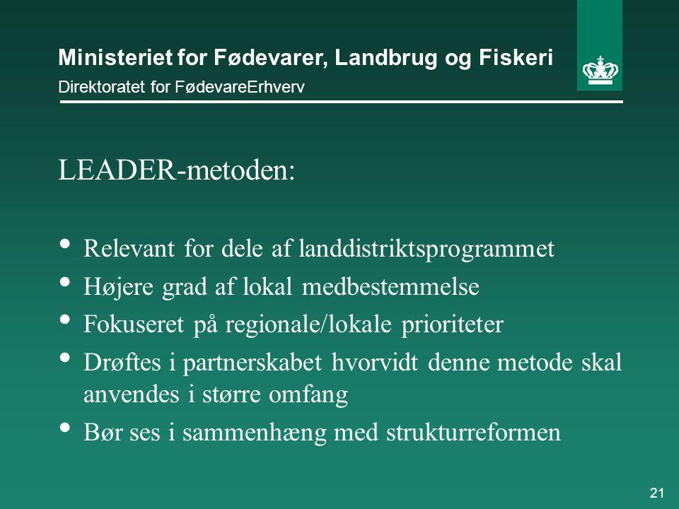 LEADER-metoden: Relevant for dele af landdistriktsprogrammet