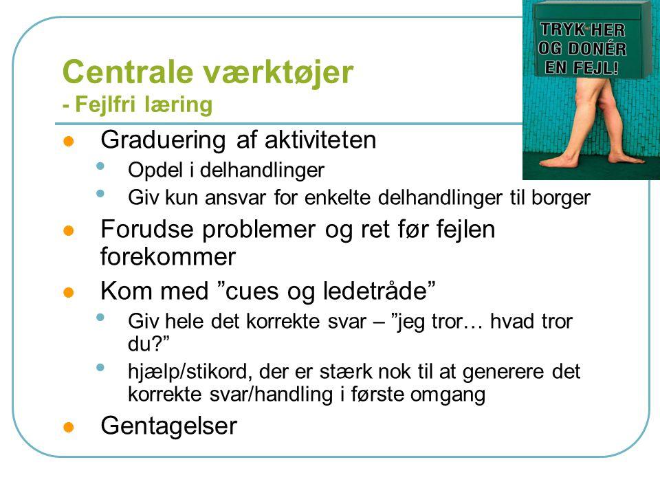 Centrale værktøjer - Fejlfri læring