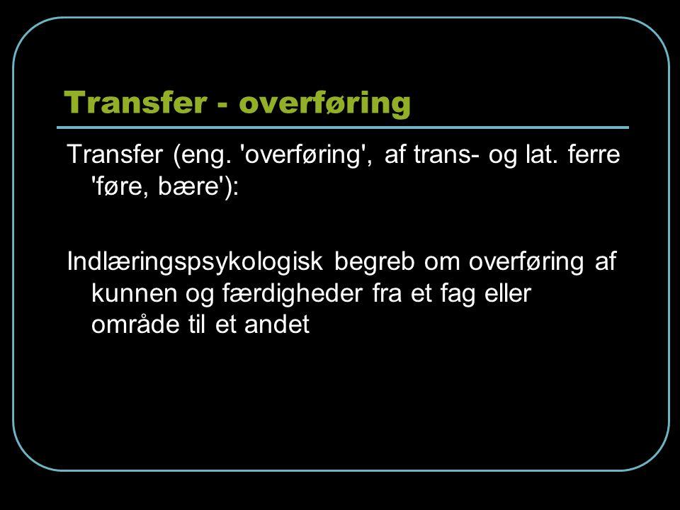 Transfer - overføring Transfer (eng. overføring , af trans- og lat. ferre føre, bære ):