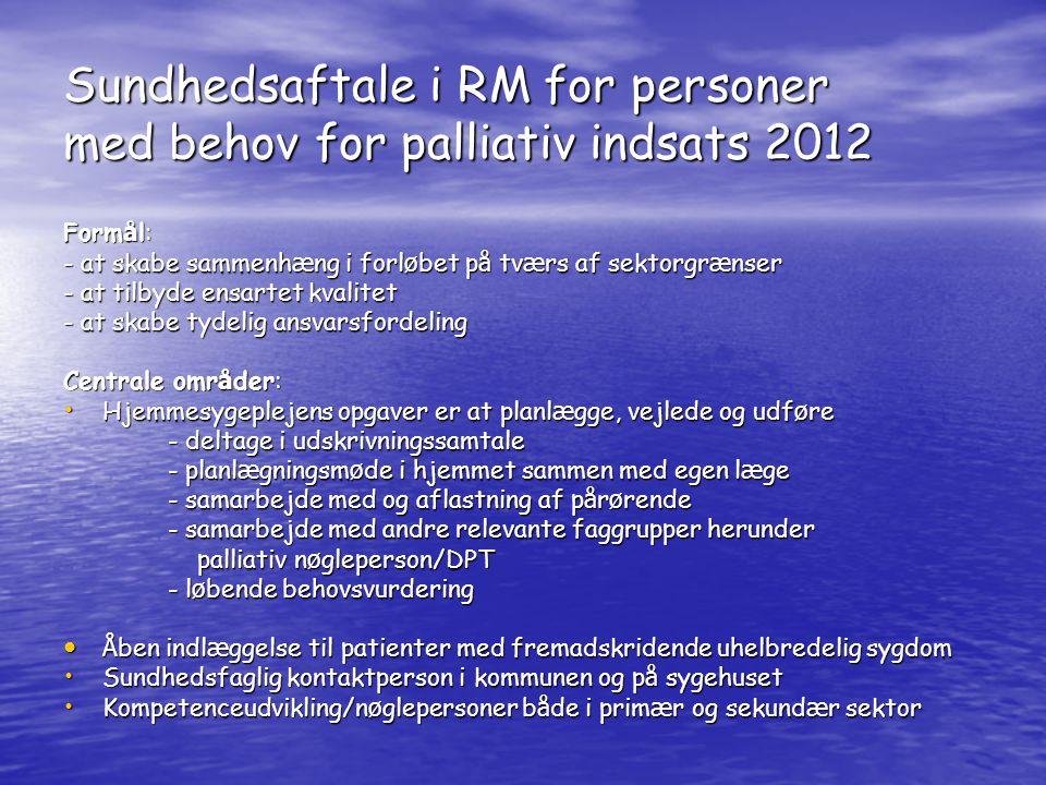 Sundhedsaftale i RM for personer med behov for palliativ indsats 2012