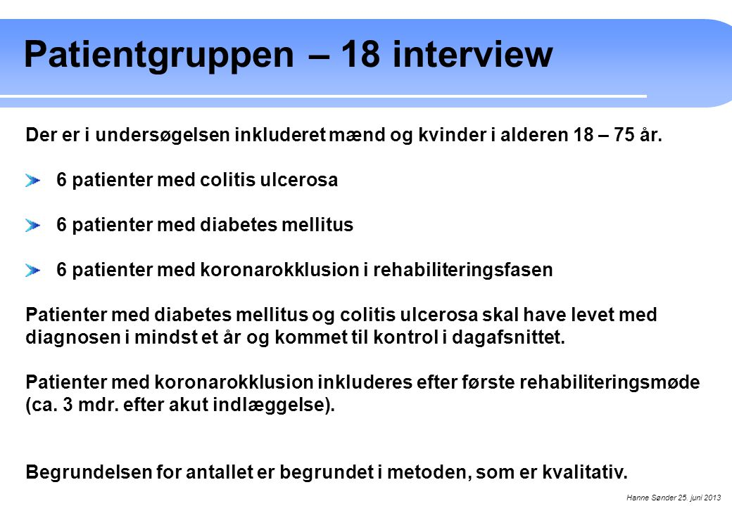 Patientgruppen – 18 interview