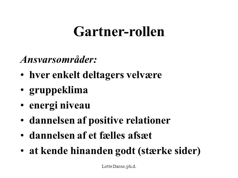 Gartner-rollen Ansvarsområder: hver enkelt deltagers velvære
