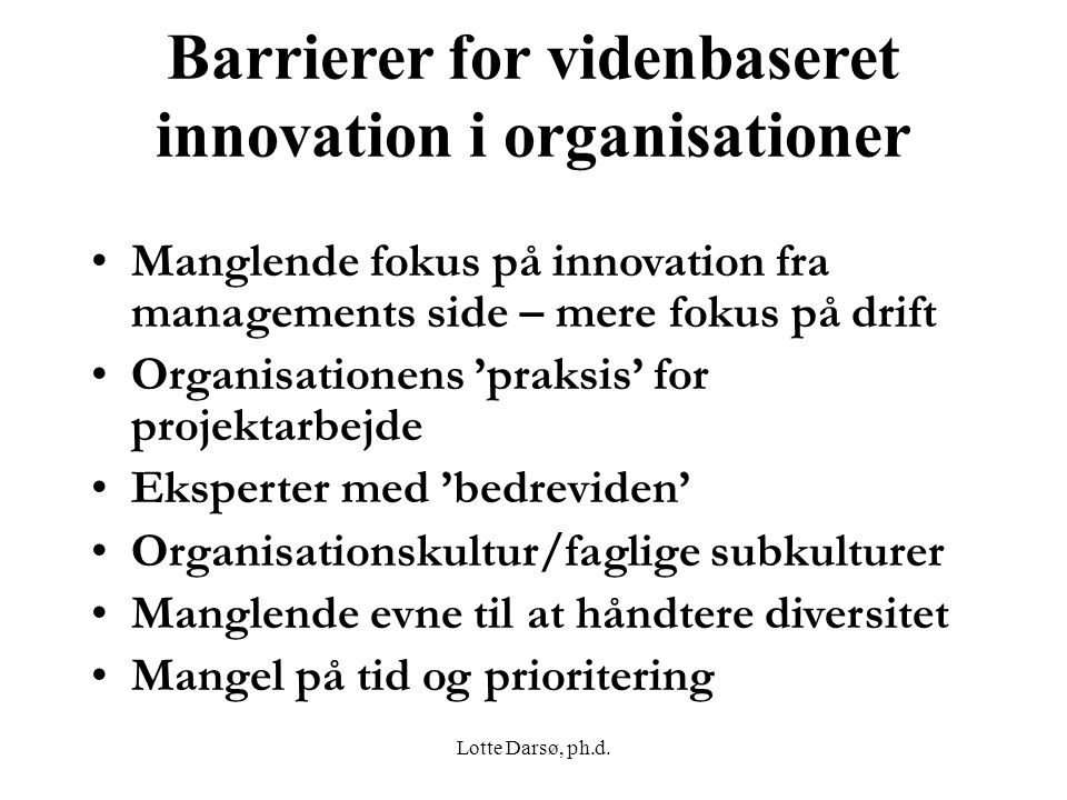 Barrierer for videnbaseret innovation i organisationer