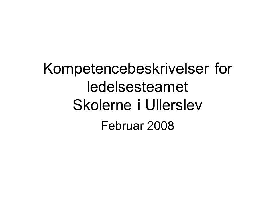 Kompetencebeskrivelser for ledelsesteamet Skolerne i Ullerslev