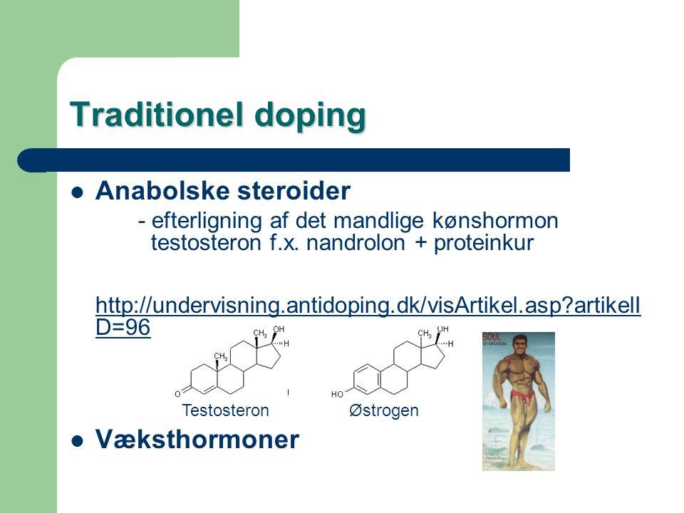 Traditionel doping Anabolske steroider Væksthormoner