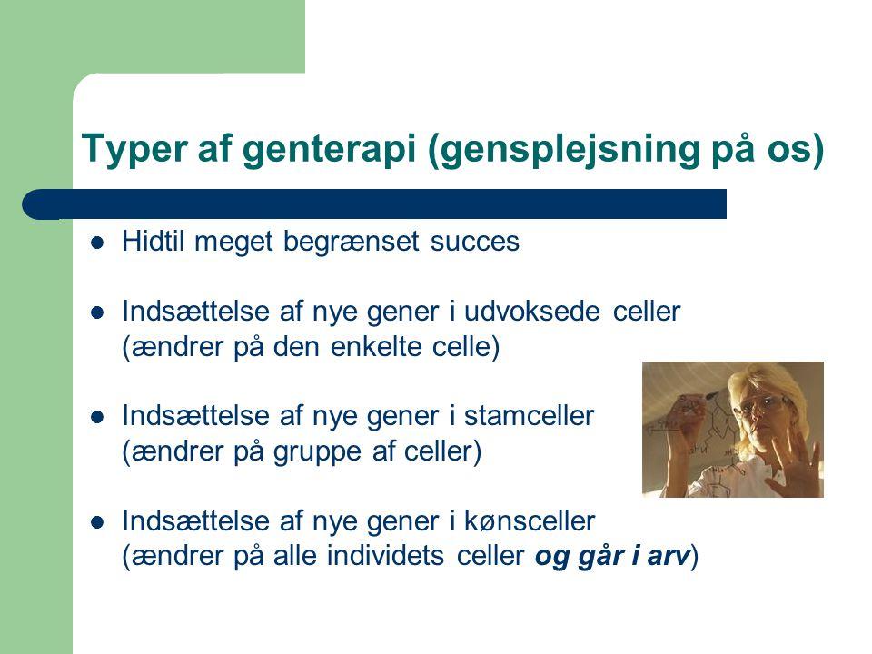 Typer af genterapi (gensplejsning på os)