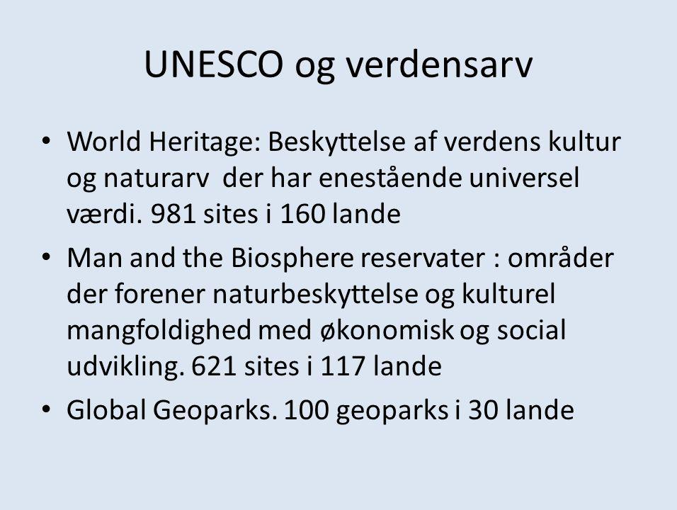 UNESCO og verdensarv World Heritage: Beskyttelse af verdens kultur og naturarv der har enestående universel værdi. 981 sites i 160 lande.