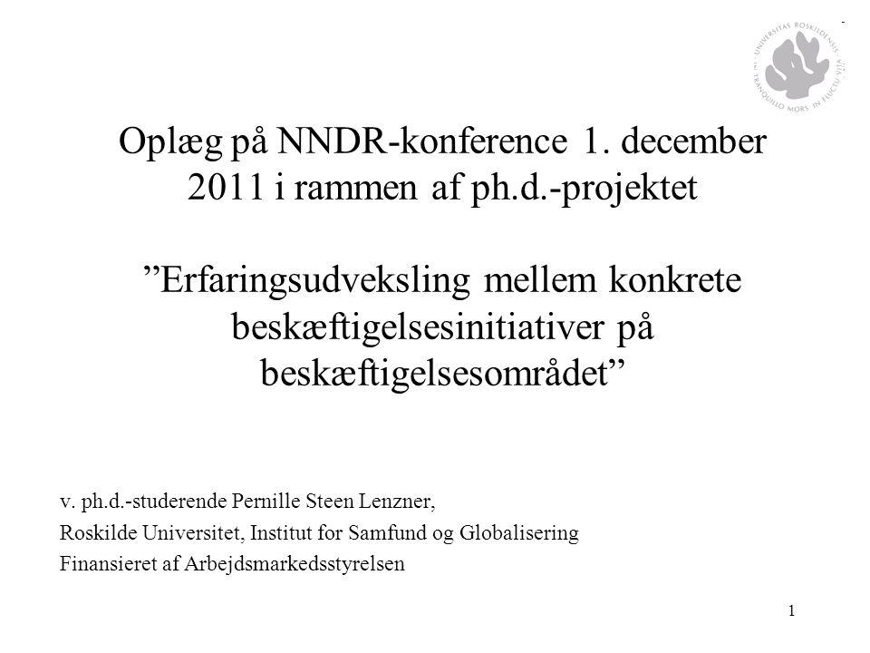 Oplæg på NNDR-konference 1. december 2011 i rammen af ph. d