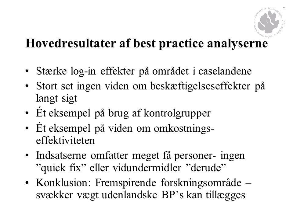 Hovedresultater af best practice analyserne