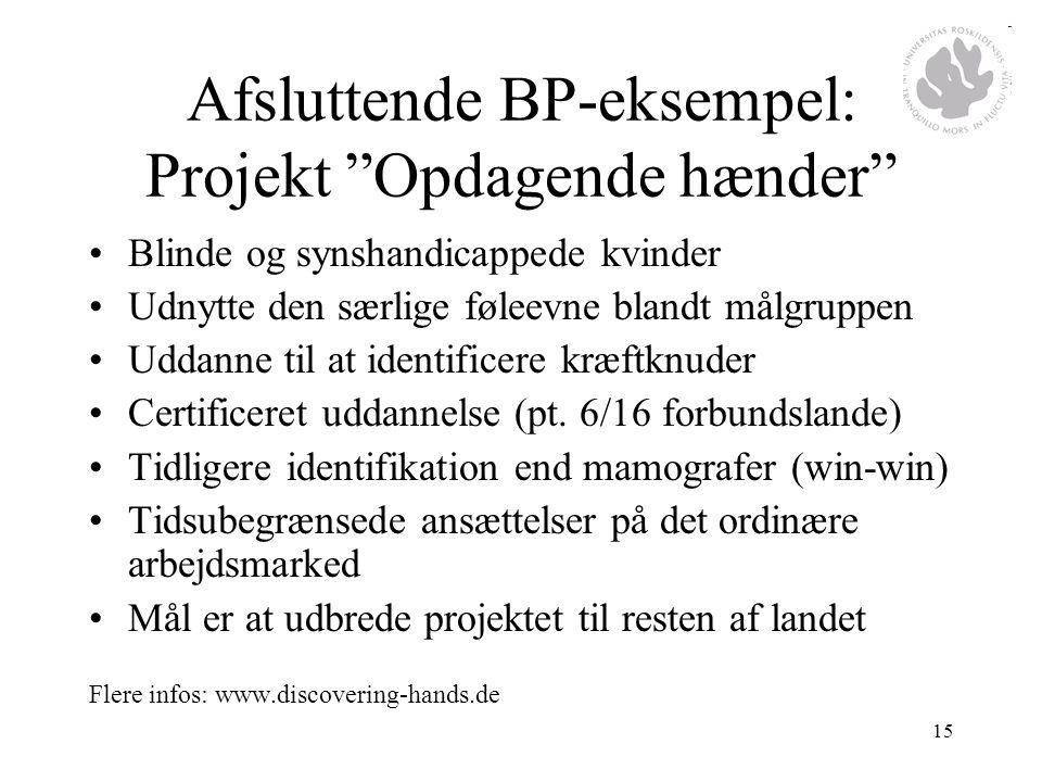 Afsluttende BP-eksempel: Projekt Opdagende hænder