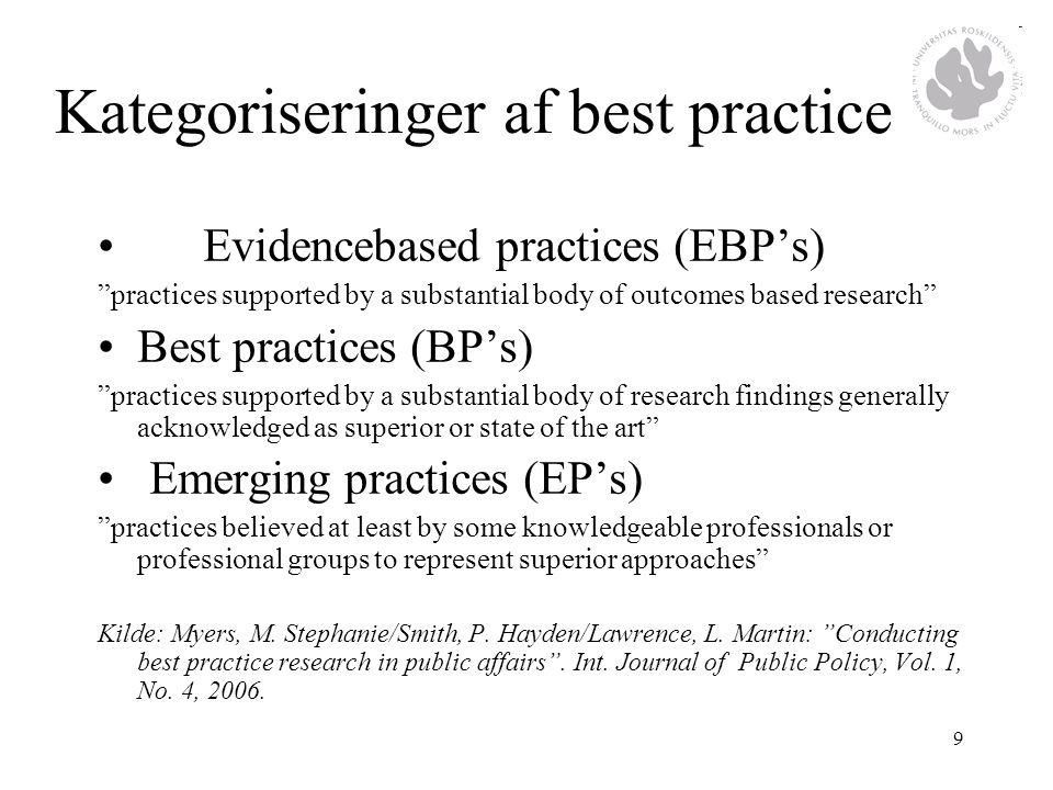 Kategoriseringer af best practice