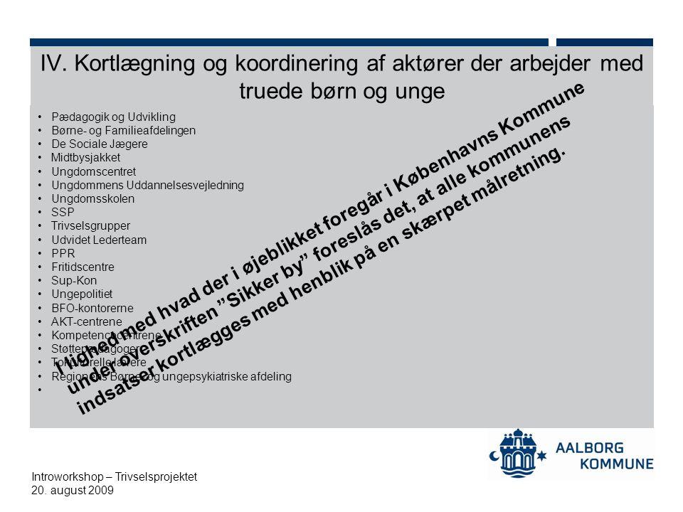 IV. Kortlægning og koordinering af aktører der arbejder med truede børn og unge