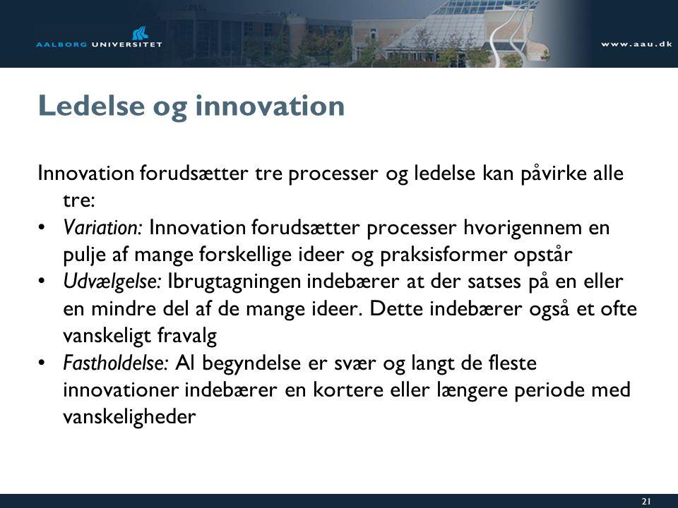 Ledelse og innovation Innovation forudsætter tre processer og ledelse kan påvirke alle tre: