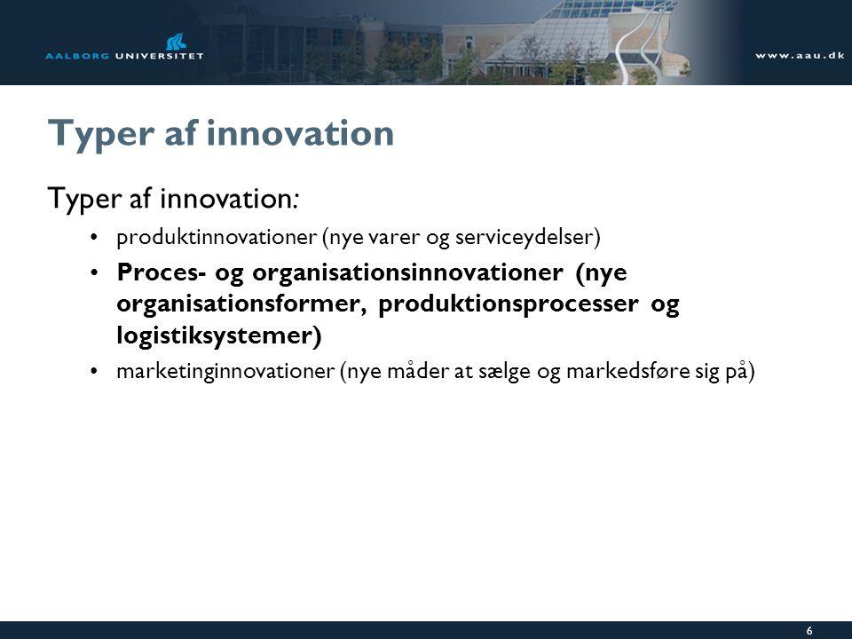 Typer af innovation Typer af innovation: