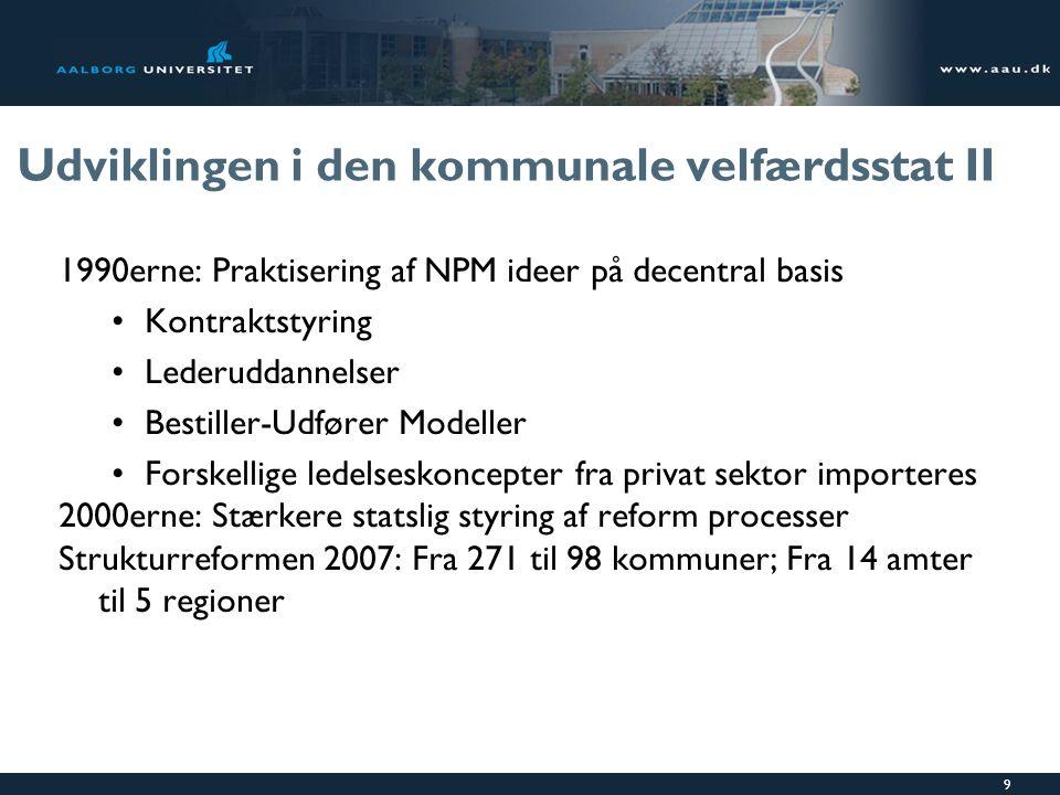 Udviklingen i den kommunale velfærdsstat II