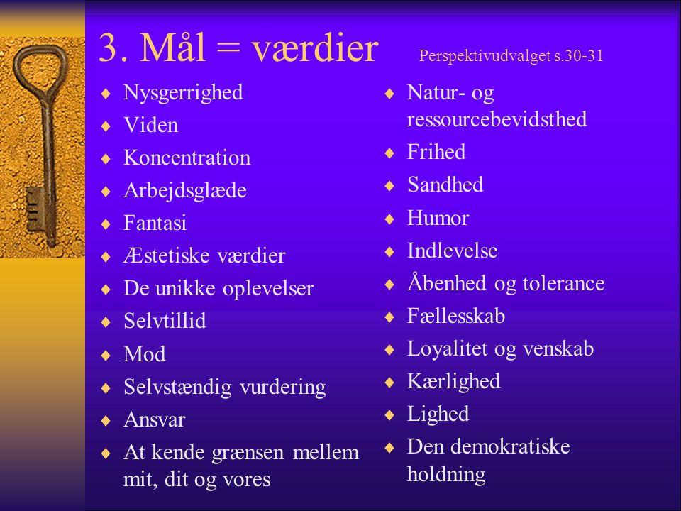 3. Mål = værdier Perspektivudvalget s.30-31