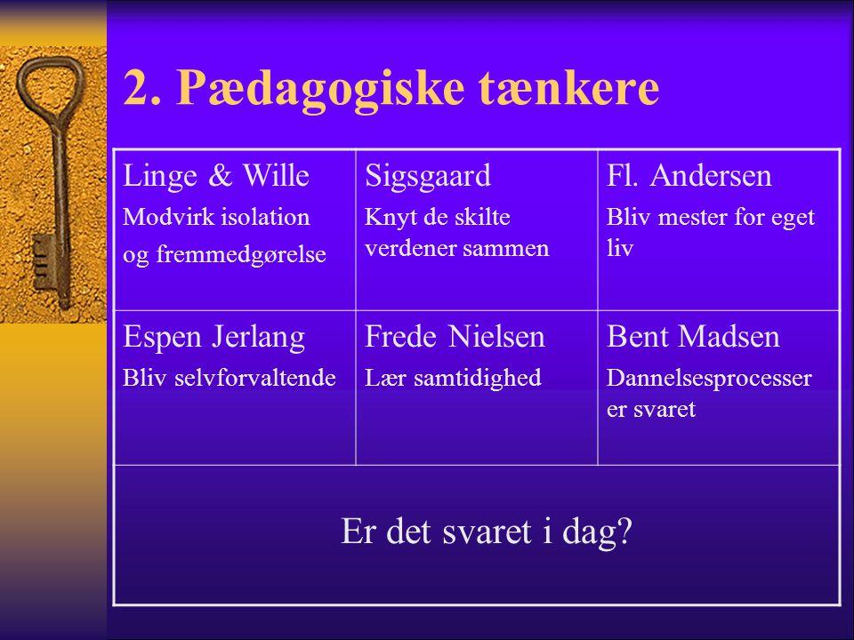 2. Pædagogiske tænkere Er det svaret i dag Linge & Wille Sigsgaard