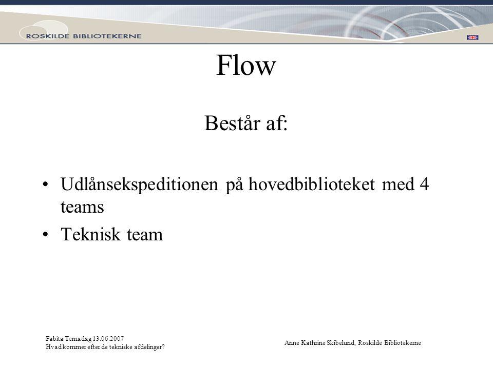Flow Består af: Udlånsekspeditionen på hovedbiblioteket med 4 teams