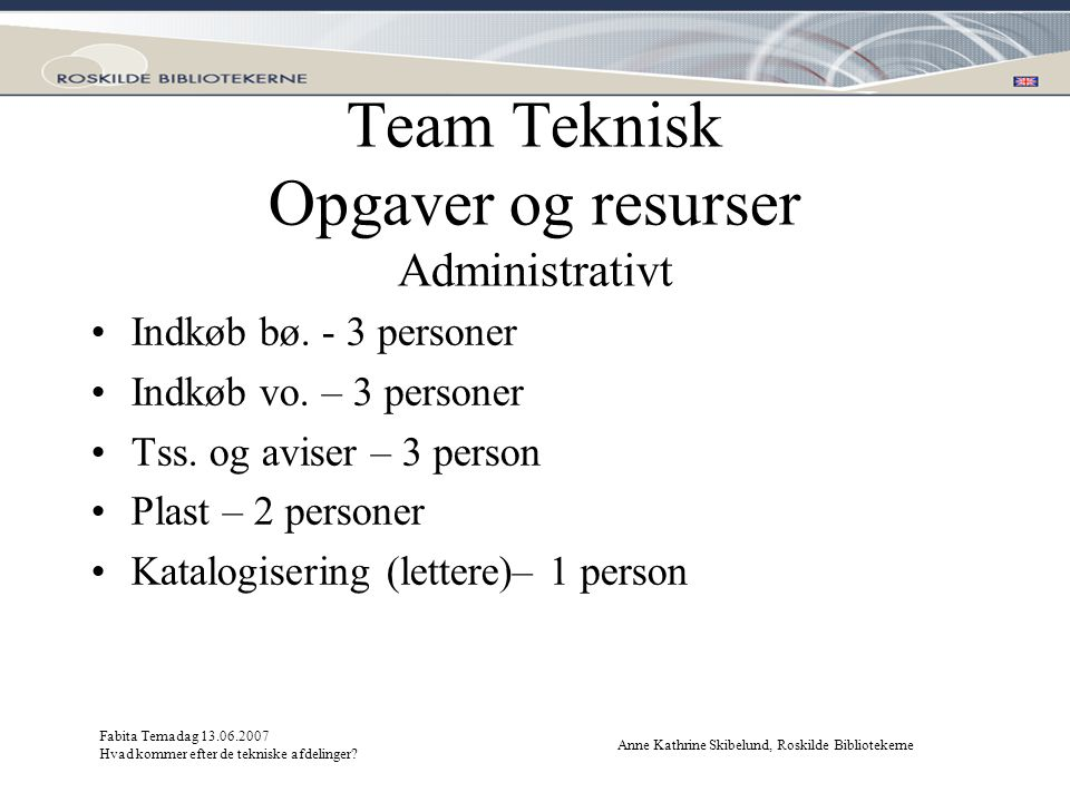 Team Teknisk Opgaver og resurser Administrativt