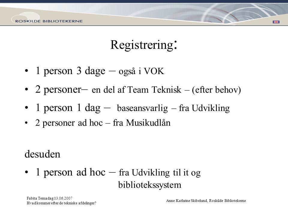 Registrering: 1 person 3 dage – også i VOK