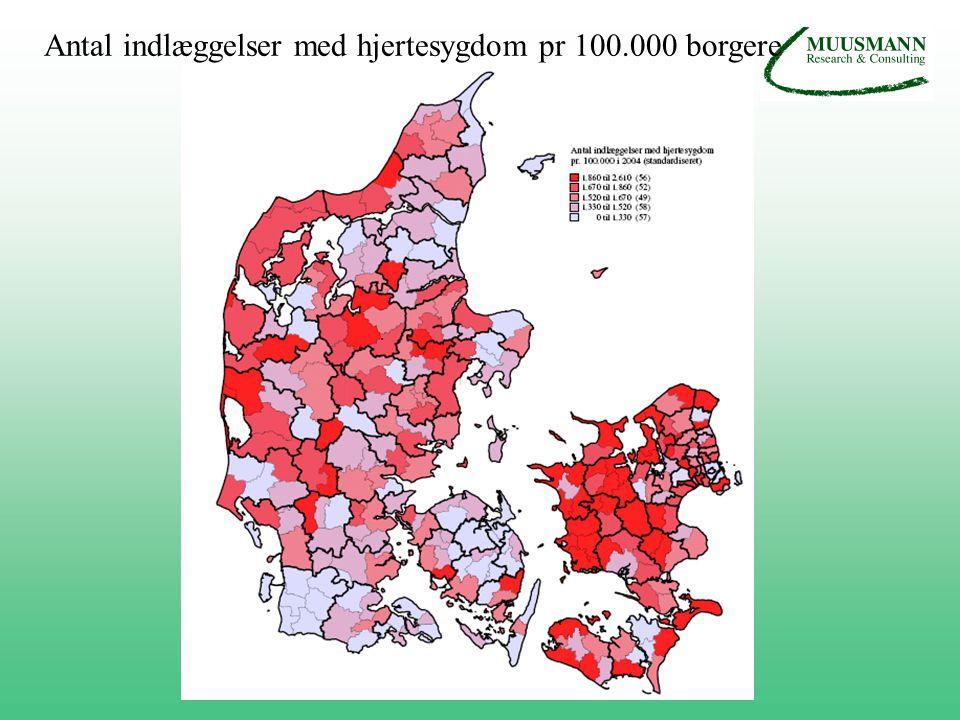 Antal indlæggelser med hjertesygdom pr 100.000 borgere