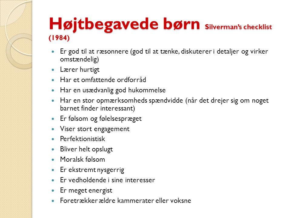 Højtbegavede børn Silverman's checklist (1984)