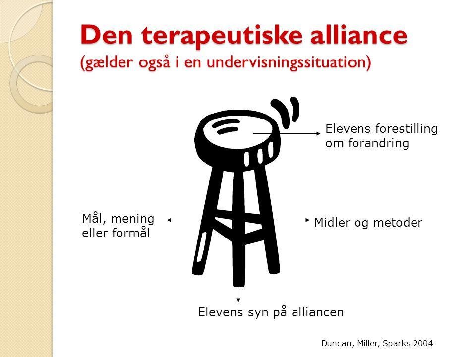 Den terapeutiske alliance (gælder også i en undervisningssituation)