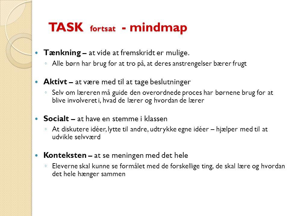 TASK fortsat - mindmap Tænkning – at vide at fremskridt er mulige.