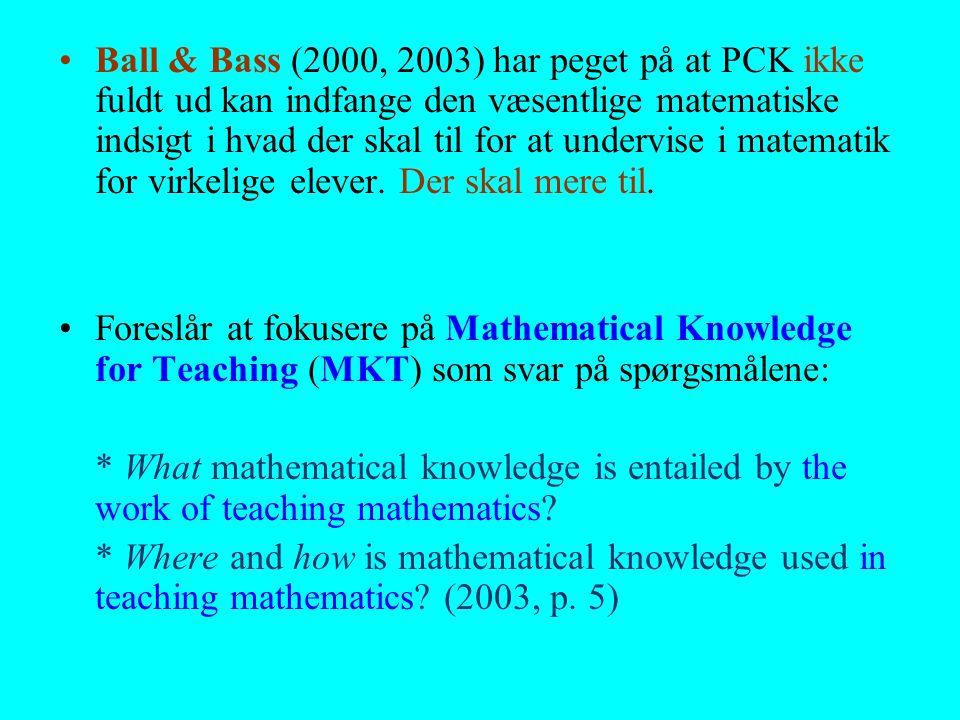 Ball & Bass (2000, 2003) har peget på at PCK ikke fuldt ud kan indfange den væsentlige matematiske indsigt i hvad der skal til for at undervise i matematik for virkelige elever. Der skal mere til.