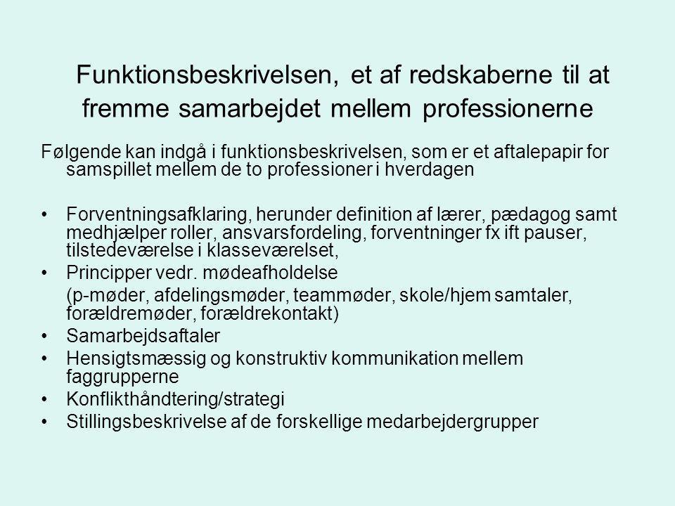 Funktionsbeskrivelsen, et af redskaberne til at fremme samarbejdet mellem professionerne
